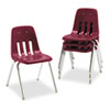 Virco 9000 Series Classroom Chair, 18 Seat Height, Wine/Chrome, 4/Carton (VIR901850)