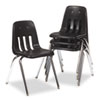 Virco 9000 Series Classroom Chair, Black/Chrome Frame, 4/Carton (VIR901801)