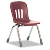 Virco Metaphor Series Classroom Chair, 12-1/2 Seat Height, Wine/Chrome, 5/Carton (VIRN912RED50CHM)