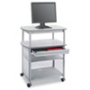 Safco Impromptu AV Cart With Storage Drawer, 3-Shelf, 36-1/2 x 22-1/2 x 44-1/4, Gray (SAF8942GR)