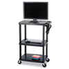 Safco Mobile AV Adjustable TV Cart, Heavy Gauge Plastic, 39-1/2 x 24d x 55-1/2h, Black (SAF8944BL)
