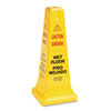 Rubbermaid Commercial Four-Sided Caution, Wet Floor Safety Cone, 10-1/2w x 10-1/2d x 25-5/8h, Yellow (RCP627777)