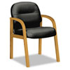 Hon 2190 Pillow-Soft Wood Series Guest Arm Chair, Harvest/Black Leather (HON2194CSR11)