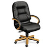 Hon 2190 Pillow-Soft Wood Series Executive High-Back Chair, Harvest/Black Leather (HON2191CSR11)