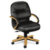 Hon 2190 Pillow-Soft Wood Series Mid-Back Chair, Harvest/Black Leather (HON2192CSR11)