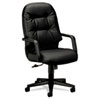 Hon Leather 2090 Pillow-Soft Series Executive High-Back Swivel/Tilt Chair, Black (HON2091SR11T)