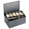 Steelmaster Extra Large Cash Box with Handles, Disc Tumbler Lock, Gray (MMF221F15TGRA)