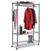 Alera Wire Shelving Garment Rack, Coat Rack, Stand Alone Rack, Black Steel w/ Casters (ALEGR354818BL)