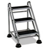 Cosco Rolling Commercial Step Stool, 3-Step, 26 3/5 Spread, Platinum/Black (CSC11834GGB1)