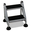 Cosco Rolling Commercial Step Stool, 2-Step, 19 7/10 Spread, Platinum/Black (CSC11824GGB1)