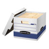 Bankers Box Quick/Stor Storage Box, Letter/Legal, Locking Lid, White/Blue, 12/Carton (FEL00789)