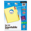 Avery WorkSaver Big Tab Reinforced Dividers, Multicolor Tabs, 5-Tab, Letter, Buff (AVE11109)