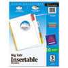 Avery WorkSaver Big Tab Dividers, Multicolor Tabs, 5-Tab, Letter, White (AVE11121)