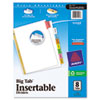 Avery WorkSaver Big Tab Dividers, Multicolor Tabs, 8-Tab, Letter, White (AVE11123)