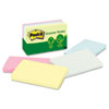 Post-It Greener Notes Recycled Pastel Notes, 3 x 5, Sunwashed Pier, 5 100-Sheet Pads/Pack (MMM655RPA)