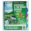 C-Line Biodegradable Poly Index Dividers with Pockets, 5-Tab, Multicolor (CLI05460)