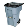 Rubbermaid Commercial Roll-Out Heavy-Duty Waste Container, Square, Polyethylene, 65 gal, Gray (RCP9W1088GY)