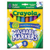 Crayola Washable Markers, Broad Point, Bold Colors, 8/Set (CYO587832)