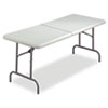 Iceberg IndestrucTable TOO Bifold Resin Folding Table, 60w x 30d x 29h, Platinum (ICE65453)