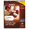Avery Blank Printer-Compatible Tags With Strings, 2 x 3 1/2, White, 96/Pack (AVE22802)