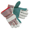 Memphis Men's Economy Leather Palm Gloves, White/Red, Large (MPG1211J)