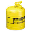 Justrite Safety Can, Type I, 5 Gal, Yellow (JUS7150200)