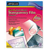 Apollo Quick-Dry Transparency Film, Removable Sensing Stripe, Letter, Clear, 50/Box (APOCG7033S)
