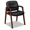Basyx VL800 Series Guest Chair w/Wood Arms, Black Leather/Mahogany Finish (BSXVL803NST11)