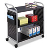 Safco Scoot Three Shelf Utility Cart, 31 x 18 x 38, Black/Silver (SAF5339BL)