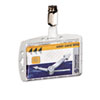 Durable Shell-Style ID Card Holder, Vertical/Horizontal, With Strap, Clear, 25/Pack (DBL800519)