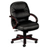 Hon 2190 Pillow-Soft Wood Series Mid-Back Chair, Mahogany/Black Leather (HON2192NSR11)