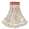 Rubbermaid Commercial Web Foot Wet Mops, Cotton/Synthetic, White, Large, 5 Red Headband (RCPA153WHI)