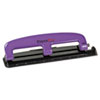 Paperpro 12-Sheet Capacity Compact Three-Hole Punch, Rubber Base, Purple/Black (ACI2105)