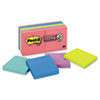 Post-It Notes Super Sticky Super Sticky Notes, 3 x 3, Five Jewel Pop Colors, 12 90-Sheet Pads/Pack (MMM65412SSUC)