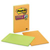 Post-It Notes Super Sticky Super Sticky Notes, 5 x 8, Lined, Assorted Electric Glow, 4 45-Sheet Pads/Pack (MMM5845SSAN)