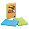 Post-It Notes Super Sticky Super Sticky Notes, 4 x 6, Lined, 3 Electric Glow Colors, 3 90-Sheet Pads/Pack (MMM6603SSAN)