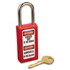Master Lock Lightweight Zenex Safety Lockout Padlock, 1 1/2 Wide, Red, 2 Keys (MLK411RED)