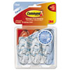 Command Clear Hooks & Strips, Plastic, Medium, 6 Hooks w/ 12 Adhesive Strips per Pack (MMM17091CLRVP)