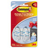 Command Clear Hooks and Strips, Plastic, Small, 2 Hooks with 4 Adhesive Strips per Pack (MMM17092CLR)