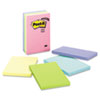 Post-It Notes Original Pads in Pastel Colors, 4 x 6, Lined, Five Colors, 5 100-Sheet Pads/Pack (MMM6605PKAST)