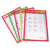 C-Line Reusable Dry Erase Pockets, 9 x 12, Assorted Neon Colors, 10/Pack (CLI40810)