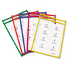 C-Line Reusable Dry Erase Pockets, 6 x 9, Assorted Primary Colors, 10/Pack (CLI41610)