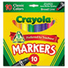 Crayola Non-Washable Markers, Broad Point, Classic Colors, 10/Set (CYO587722)