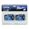 Brother P-Touch TC Tape Cartridges for P-Touch Labelers, 1/2w, Black on Clear, 2/Pack (BRTTC10)