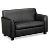 Basyx Tailored Leather Reception Two-Cushion Loveseat, 53-1/2w x 28-3/4d x 32h, Black (BSXVL872ST11)