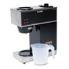 Bunn Pour-O-Matic Two-Burner Pour-Over Coffee Brewer, Stainless Steel, Black (BUNVPR)