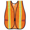 Mcr Safety Orange Safety Vest, 2 Reflective Strips, Polyester, Side Straps, One Size (CRWV201R)