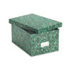Oxford Reinforced Board Card File, Lift-Off Lid, Holds 1,200 5 x 8 Cards, Green Marble (ESS39652)