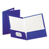 Oxford High Gloss Laminated Paperboard Folder, 100-Sheet Capacity, Blue, 25/Box (ESS51701)