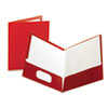 Oxford High Gloss Laminated Folder, 100-Sheet Capacity, Crimson, 25/Box (ESS51718)